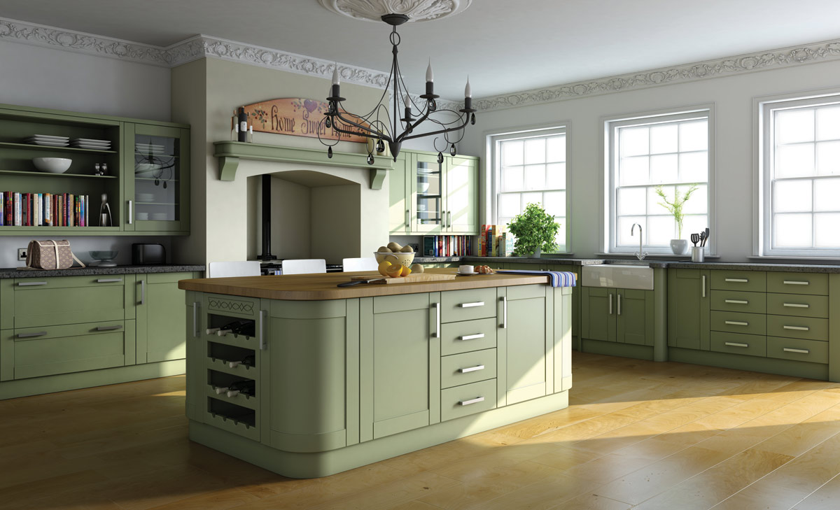 Painted kitchens dublin fitted kitchens bespoke kitchens for Green kitchen pictures